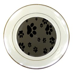 Dog Foodprint Paw Prints Seamless Background And Pattern Porcelain Plates