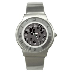 Dog Foodprint Paw Prints Seamless Background And Pattern Stainless Steel Watch by BangZart