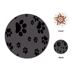 Dog Foodprint Paw Prints Seamless Background And Pattern Playing Cards (round)