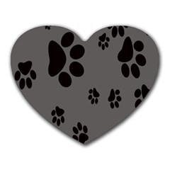Dog Foodprint Paw Prints Seamless Background And Pattern Heart Mousepads