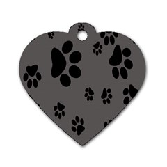 Dog Foodprint Paw Prints Seamless Background And Pattern Dog Tag Heart (one Side)