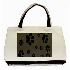 Dog Foodprint Paw Prints Seamless Background And Pattern Basic Tote Bag (two Sides)