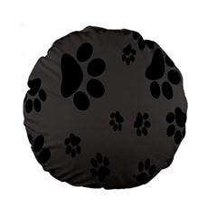 Dog Foodprint Paw Prints Seamless Background And Pattern Standard 15  Premium Round Cushions