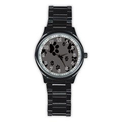Dog Foodprint Paw Prints Seamless Background And Pattern Stainless Steel Round Watch