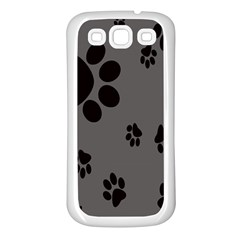 Dog Foodprint Paw Prints Seamless Background And Pattern Samsung Galaxy S3 Back Case (white) by BangZart