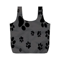 Dog Foodprint Paw Prints Seamless Background And Pattern Full Print Recycle Bags (m)