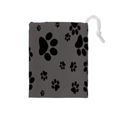 Dog Foodprint Paw Prints Seamless Background And Pattern Drawstring Pouches (medium)