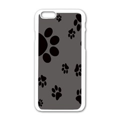 Dog Foodprint Paw Prints Seamless Background And Pattern Apple Iphone 6/6s White Enamel Case by BangZart