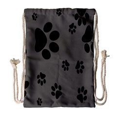 Dog Foodprint Paw Prints Seamless Background And Pattern Drawstring Bag (large)