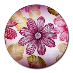 Flower Print Fabric Pattern Texture Round Mousepads