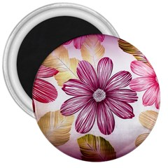 Flower Print Fabric Pattern Texture 3  Magnets by BangZart