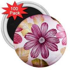 Flower Print Fabric Pattern Texture 3  Magnets (100 Pack)