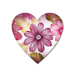 Flower Print Fabric Pattern Texture Heart Magnet by BangZart