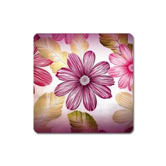 Flower Print Fabric Pattern Texture Square Magnet by BangZart