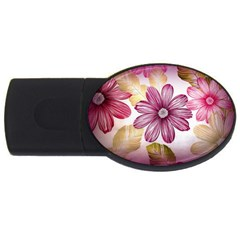 Flower Print Fabric Pattern Texture Usb Flash Drive Oval (4 Gb)