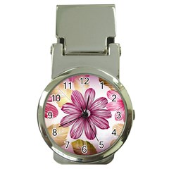 Flower Print Fabric Pattern Texture Money Clip Watches by BangZart