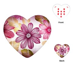 Flower Print Fabric Pattern Texture Playing Cards (heart)