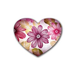 Flower Print Fabric Pattern Texture Heart Coaster (4 Pack)
