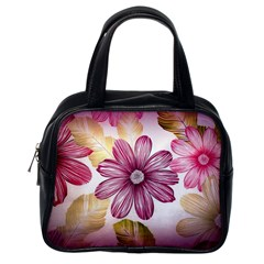 Flower Print Fabric Pattern Texture Classic Handbags (one Side)