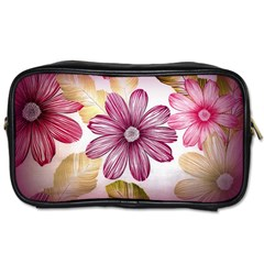 Flower Print Fabric Pattern Texture Toiletries Bags by BangZart