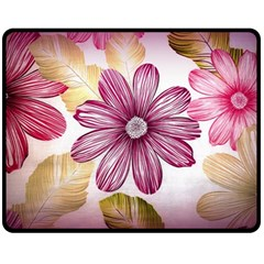 Flower Print Fabric Pattern Texture Fleece Blanket (medium)