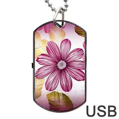 Flower Print Fabric Pattern Texture Dog Tag Usb Flash (one Side) by BangZart