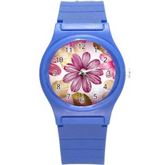 Flower Print Fabric Pattern Texture Round Plastic Sport Watch (s)