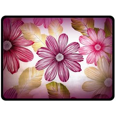 Flower Print Fabric Pattern Texture Double Sided Fleece Blanket (large)