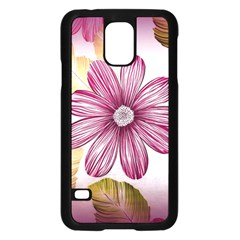 Flower Print Fabric Pattern Texture Samsung Galaxy S5 Case (black)