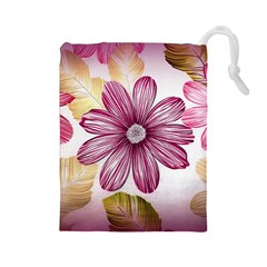 Flower Print Fabric Pattern Texture Drawstring Pouches (large)  by BangZart