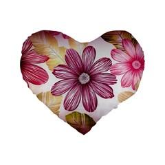 Flower Print Fabric Pattern Texture Standard 16  Premium Flano Heart Shape Cushions