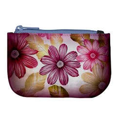 Flower Print Fabric Pattern Texture Large Coin Purse by BangZart