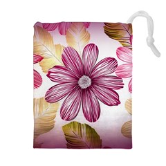 Flower Print Fabric Pattern Texture Drawstring Pouches (extra Large) by BangZart