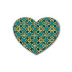 Vintage Pattern Unique Elegant Rubber Coaster (heart)  by BangZart