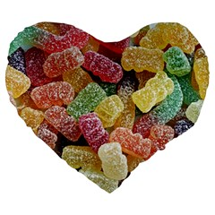 Jelly Beans Candy Sour Sweet Large 19  Premium Heart Shape Cushions by BangZart