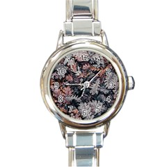 Leaf Leaves Autumn Fall Brown Round Italian Charm Watch by BangZart