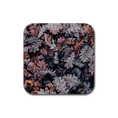 Leaf Leaves Autumn Fall Brown Rubber Square Coaster (4 Pack)  by BangZart