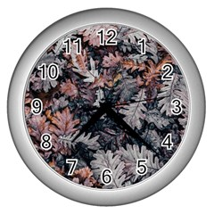Leaf Leaves Autumn Fall Brown Wall Clocks (silver)  by BangZart