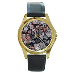 Leaf Leaves Autumn Fall Brown Round Gold Metal Watch