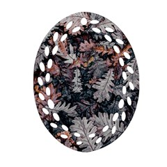Leaf Leaves Autumn Fall Brown Oval Filigree Ornament (two Sides) by BangZart