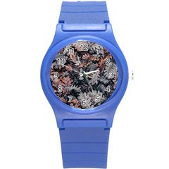 Leaf Leaves Autumn Fall Brown Round Plastic Sport Watch (s) by BangZart