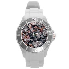 Leaf Leaves Autumn Fall Brown Round Plastic Sport Watch (l) by BangZart