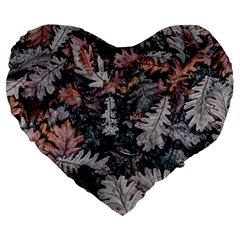 Leaf Leaves Autumn Fall Brown Large 19  Premium Heart Shape Cushions by BangZart