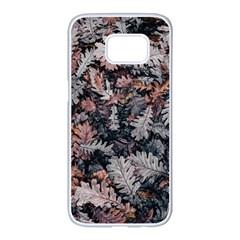 Leaf Leaves Autumn Fall Brown Samsung Galaxy S7 Edge White Seamless Case by BangZart