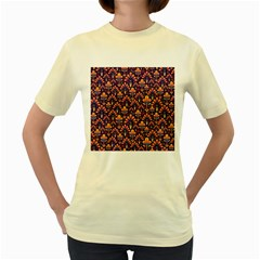Abstract Background Floral Pattern Women s Yellow T Shirt