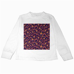 Abstract Background Floral Pattern Kids Long Sleeve T Shirts