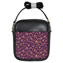 Abstract Background Floral Pattern Girls Sling Bags by BangZart