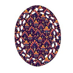 Abstract Background Floral Pattern Oval Filigree Ornament (two Sides)