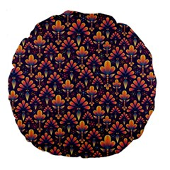 Abstract Background Floral Pattern Large 18  Premium Flano Round Cushions by BangZart