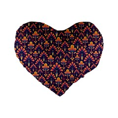 Abstract Background Floral Pattern Standard 16  Premium Flano Heart Shape Cushions by BangZart